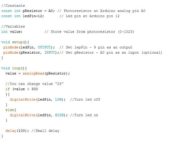 Photoresistor Arduino Code